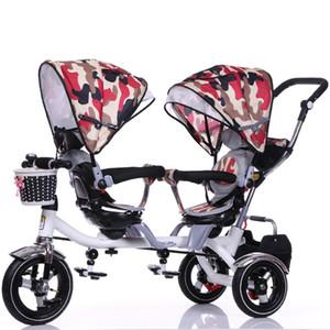 Toptan-Çift Arabası Çocuk Bisikleti Arabası Twins için Çift Koltuk Bebek Üç Tekerlekli Bisiklet Katlanır Üç Tekerlekler Twins Üç Tekerlekli Pushchairs