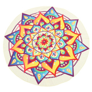 145cm Schöne Printed Chiffon Round Peacock Printing Mandala Tapestry Strandtuch Teppich Decke Yoga-Matte