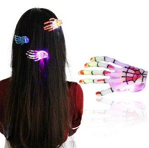 2017 Moda İskelet Pençeleri Kafatası El Saç Klip Firkete Zombi Yaratıcı Cadılar Bayramı Dekorasyon Oyuncaklar Yanıp Sönen LED Saç Klip El Kemik Firkete