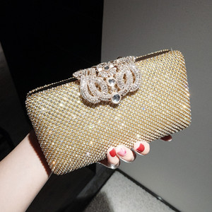 Neue Mode Kristall Strass Damen Hochzeit Braut Silber Schwarz Clutch Abendtasche Hand Perlen taschen Schulter Geldbörse Brieftasche Make-Up Kit