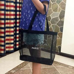 HOT! Klassische weiße logo shopping mesh Tasche luxus muster Reisetasche Frauen Waschen Tasche Kosmetik Make-Up Lagerung mesh Fall