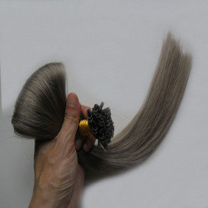 Estensioni per capelli grigio argento estensioni fusione 100 g Estensione punta capelli U keratine 100s 4B 4C