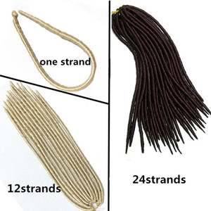 faux locs crochet cheveux 24strands / pcs extensions de cheveux droites au crochet extensions dreadlock synthétiques tresses tressage pour les femmes noires