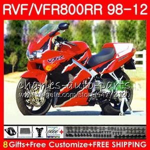 VFR800 para HONDA Interceptor naranja rojo VFR800RR 98 99 00 01 02 03 04 12 90NO58 VFR 800 RR 1998 1999 2000 2001 2002 2003 2004 2012 Carenado