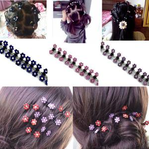 12pcs / Lot New Baby Kid Bambino Fiore di cristallo Mini Barrettes Hair Claw Clamp Ragazze Hair Clip HairPins Accessori per capelli