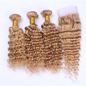 Capelli umani malesi Honey Blonde Weave Bundles Deep Wave con # 27 Strawberry Blonde 4x4 Front Lace Closure Deep Wavy 4Pcs Lot