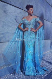 2020 New Luxury Blue Mermaid Abendkleider Cap-Verpackungs-Hülsen-Spitze Appliques wulstige Mit Cape Blumen formale Partei-Kleid Abendkleider