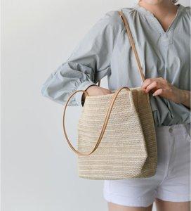 Summer 2017 New Woven Straw Handbags Beach Hand Bags Women Fashion Bolsos Shoulder Bags Bucket Bag For Travel Leisure