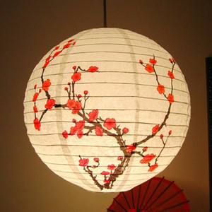 Cinese Plum Blossom Paper Lantern 35CM Metal Holder paralume Oriental Home Festival Decorazione di cerimonia nuziale del partito