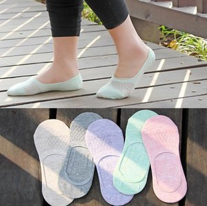 Good A++ Spring and summer candy color mesh cartoon cat silicone non - slip solid color stealth boat socks cotton socks LW015