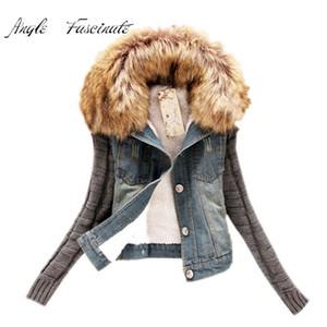 Atacado-Casaco Feminino Inverno Moda Feminina Jaqueta Jeans Gola Móvel Peles Gola De Lã Casaco Jaqueta Bomber Mulheres Jean Casacos Básicos