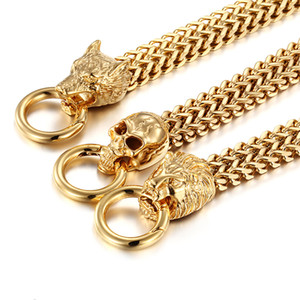 Los hombres regalos frescos del motorista stainelss cadena de acero del doble del oro Figaro pulsera lobo / león / cráneo dirige la pulsera del brazalete del corchete