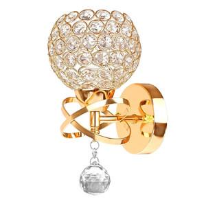 Cristalino de la vendimia de luz clásica pared de la cabecera de plata / oro bola de cristal lámpara de pared lámpara de pared de 110V 220V con interruptor de cordón accesorio de iluminación