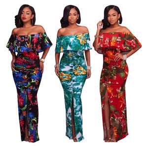 Summer Plus Size Femmes Vêtements Sexy Split Dress Bodycon Off Épaule Floral Imprimé Maxi Longues Robes Slash Cou Backless Party Clubwear
