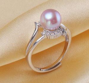 Anello all'ingrosso 7-8mm bianco rosa viola 3 colori perla naturale argento 925 intarsiato zircone JZ150850Z