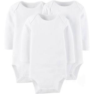 AbaoDo новый длинный рукав ребенка ползунки 100% хлопка чисто белых младенцев боди новорожденный износа одежды высокого качества