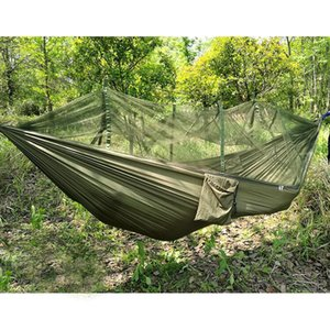 Wholesale- Free Shipping Strength Fabric MosquitoNet Portable Camping Hammock Lightweight Hanging Bed Durable Packable Travel Bed(3 Color)
