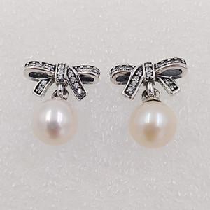 Délicat avec perle blanche Sentiments clair Cz Fait argent 925 Fit Pandora style européen ALE Stud Bijoux pour les femmes vente chaude
