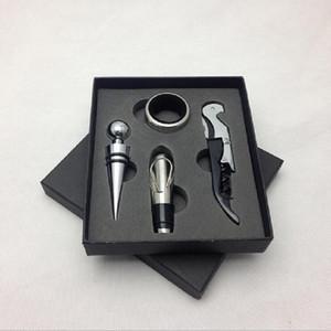 Pemium 4 pcs set Wine Opener Set Stainless Steel Pourer Wine Corkscrew Bottle Opener and Wine Pourer Stopper Drip Ring