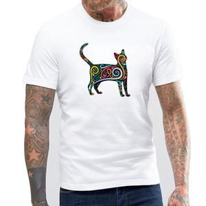 2017 새로운 스타일 다채로운 뚱뚱한 고양이 디자인 남자의 높은 품질 T 셔츠 멋진 탑 캐주얼 남자 티셔츠