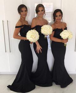 Сексуальные с плечевой русалки Black Bridemaid платья 2017 пользовательские приготовленные горничные платья чести формальное свадебное гостевое платье