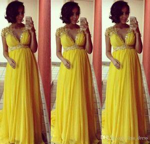 Uzun Nedime Elbiseler Zarif Abiye Hamile Kadınlar için Cap Sleeve dantel şifon Sarı Balo vesilesiyle Elbiseler ücretsiz kargo