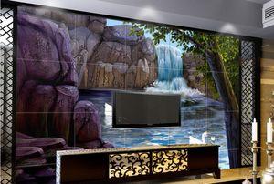 Papel tapiz mural mural personalizado 3d para la sala de estar Swan Lake TV Antecedentes fotográficos de pared 3d