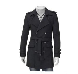 Mode neue Männer Casual Schultergurt Double-Treasted Trench Long Coat Revers Slim Fit Trenchcoats einzigartige Herrenbekleidung
