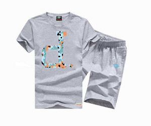 8837 Free shipping s-5xl diamond New Arrival hip hop suit Mens t shirts +pants tees colorful letter Tracksuits