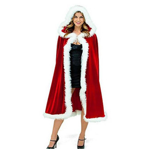 New Year Modern Design Mid-Calf Length Lady Winter Red Cloak Custom Made Hooded with Faux Fur Good Quality Exclusive Management