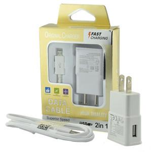 2 em 1 carregador de parede casa kits de viagem adaptador 5V 2A carregamento rápido carregadores de parede + 1M Micro USB Cabo com caixa de varejo para Samsung