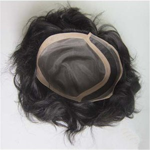Toupees high quality virgin russian hair silk straight 1b black men hair toupee lace base with poly free shipping