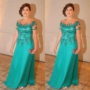 Elegante Mutter der Braut Kleider Hunter Vintage Mutter des Bräutigams Kleider schiere Spitze Appliques kurzen Ärmeln formale Kleid für Party
