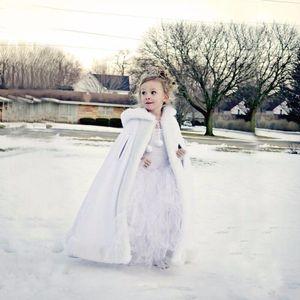 Custom Made Lovely Girls Cape Kids Wedding Cloaks Faux Fur Jacket For Winter Kid Flower Girl Children Satin Hooded Child Coats