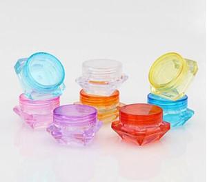 2g 3g 5g forme de diamant coloré récipients cosmétiques vides bouchon à vis récipients d'échantillonnage pot soins de la peau pots de crème pot
