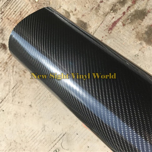 Супер глянцевый черный 5Д углеродного волокна автомобиля виниловая пленка обернуть в 4D текстура оклеивание воздуха для автомобиля