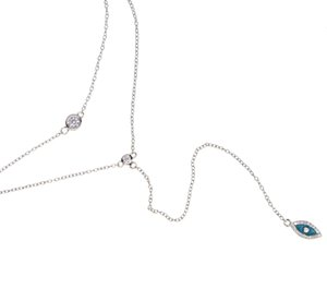 2017 factory fine 925 sterling silver rose gold rhodium Bling sparking cz evil eye lariat choker double layer delicate sexy women necklace