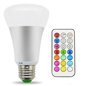 10W A19 عكس الضوء RGBW لمبة توقيت وحدة تحكم عن بعد تغيير لون لمبات الإضاءة LED ، لمبة تحكم مزدوجة في الذاكرة ومفتاح الجدار