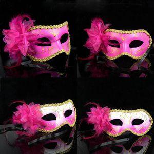 Kadınlar Ile Tüy Parti Maskeleri Boyama Ve Çiçek Yan Prenses Masquerade Yarım Yüz Maskesi Yetişkin Kadın Cosplay Için