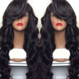 Термостойкие Дешевые Женские парики 100% Glueless Синтетических парики парик волос / правый взрыва парик фронта шнурка с левой Bangs для чернокожих женщин