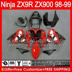 8Gifts 23Colors Per KAWASAKI NINJA ZX 9 R ZX9R 98 99 00 01 900CC ROSSO NERO 48HM9 ZX 9R ZX900 ZX900C ZX-9R 1998 1999 2000 2001 Kit carenatura