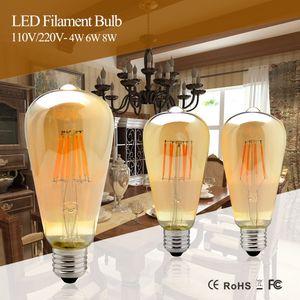 4W 6W 8W Dimmable COB LED Vintage Filament Retro Bulbs 220V 110V ST64 2200K 27000K Filament Lamp Vintage Lighting