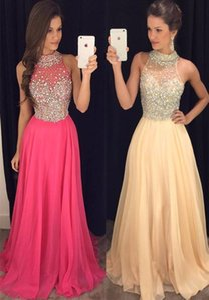 Vestidos longos do baile de finalistas 2017 de alta neck black girl prom chiffon com cristal sexy voltar 2016 a linha de vestidos de festa vestidos de noite