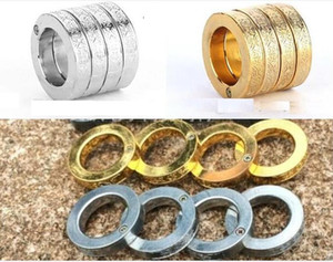 الذهب والفضة خواتم الدفاع عن النفس الفولاذ المقاوم للصدأ حلقة حلقة واحدة تتكشف في أربع خواتم الدفاع المفصل شحن مجاني
