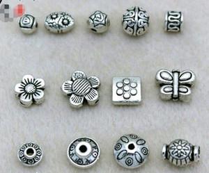 Sıcak! 100 adet Tibet Gümüş Varil Spacer Boncuk Bulguları Retro Antik Gümüş Gevşek Boncuk Mix Stilleri Takı Aksesuarları
