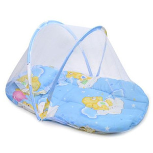 Cama de Bebê Portátil Berço Dobrável Mosquiteiro Net Mosquito Dobrável para o Infante, Almofada + Colchão + Travesseiro