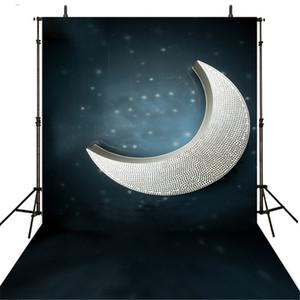 3D Crescent Moon Photography Backdrops 비닐 다크 나이트 아이 사진 스튜디오를위한 키즈 배경 벽지 신생아 사진 소품