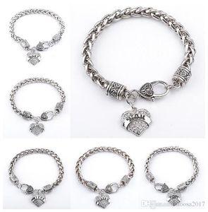 2017 Hot Fashion 925 Silver Plated Crystal Bracelet Love Diamond pendants with Alphabet Charm Bracelets for MOM SISTER MIMI NANA jewelry