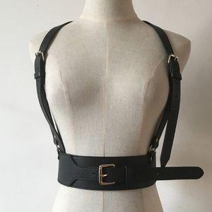Al por mayor-Hombres Mujeres Unisex Punk arnés de cuero Cinturón de cintura ancha grande cinturón abrochado Esclavitud Sculpting Cage Belt correa de cuero de las correas