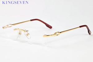 2017 homens chifre de búfalo óculos de sol sem aro lente clara óculos mulheres quadros de liga de prata de ouro armação de metal óculos gafas 52-18-140mm